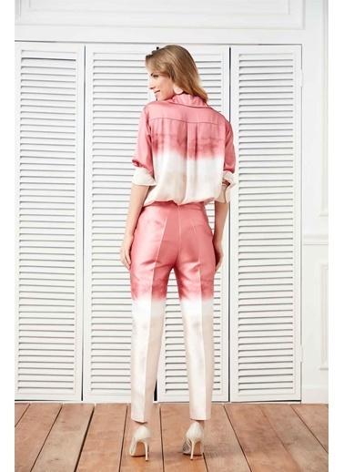 Setre Pembe-Bej Normal Bel Cepli Batik Kalem Pantolon Pembe